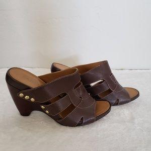 Tahari mule clog slip on wedge sandals size 8.5M